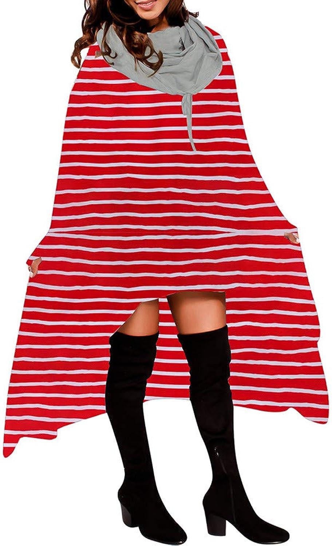Ximandi Women Asymmetric Blouse Loose Hoodie Ladies Fashion Long Hooded Sweater Tops