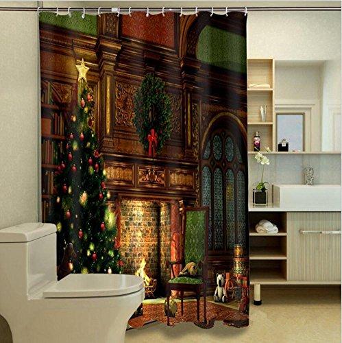 Noël Rideau de douche Photo 3D impression Polyester Mildewproof Salle de bains en tissu Bloc Rideau avec Crochets , 150*180 cm