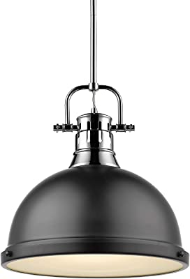 Golden Lighting 3604-L CH-BLK Duncan Pendant, Chrome with Matte Black Shade