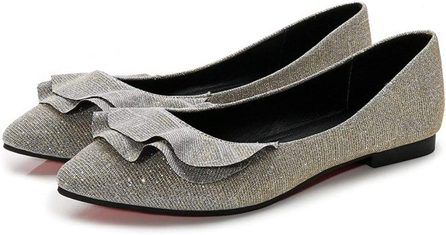 Fay Waters Ruffle Glitter Ballet Flats for Women Pointed Toe Slip On Classic Comfort shoes for Girls Ladies