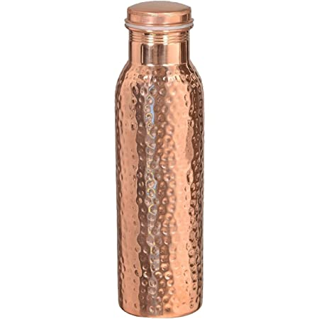 Hammered Pure Copper Stylish Q7 Bottle Joint Free with Ayurvedic benefited 100% pure & Leak Proof Bottle