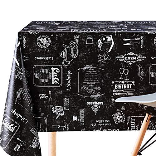 Nappe de Table aux Motif Tableau Noir – Vinyle PVC Toile Cirée Rectangulaire 300 x 140 cm – Nappe Texturé en Relief - Nettoyage Facile Nappe Plastique avec support non tissée - Craie Noire Café