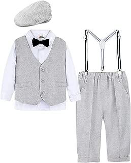 A&J DESIGN Baby Boys Outfits Set, 4pcs Gentleman Suit Shirt & Pants & Waistcoat & Hat