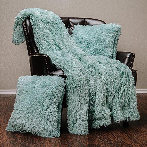 Chanasya 3-Piece Shaggy Throw Blanket Pillow Cover Set - Chic Fuzzy Faux Fur Sherpa Throw (50x65 Inches) 2 Throw Pillow Covers (18x18 Inches) for Bed Couch - Turquoise