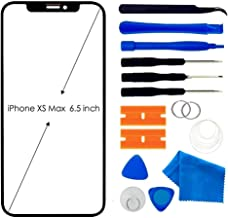 Original Compatiable with iPhone Xs MAX Front Lens Glass Screen Replacement,6.5 inch Lens Glass Cover with Adhesive and Repair Tool Kit(Black)