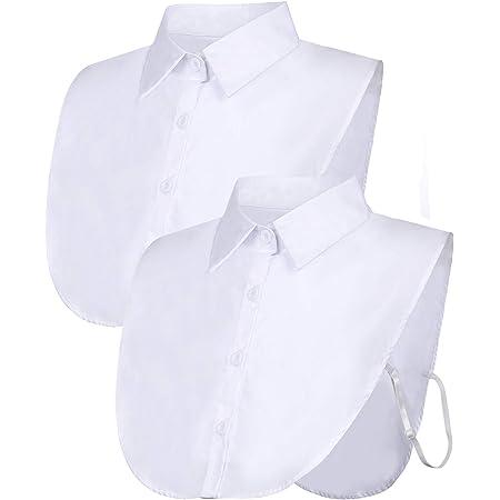 2 Piezas Cuello Falso Cuello de Dickey de Blusa Desmontable Cuello Falso de Camiseta de Mitad para Favores de Mujeres