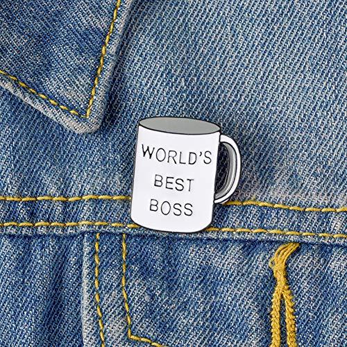 pu ran Unisex Kreative Tasse Form Beste Chef Brief Reise Emaille Brosche Jeansjacke Kragen Abzeichen Täglichen Leben Einkaufen Dating Kleidung Decor Weiß