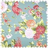 Möbelstoff Flora Eden Rose Blaugrau in Englisch Leinen