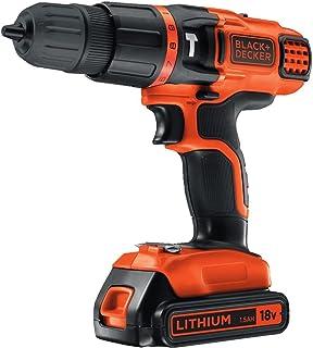 BLACK+DECKER 18 V Cordless 2-Gear Hammer Drill with Kitbox, EGBL188K-GB