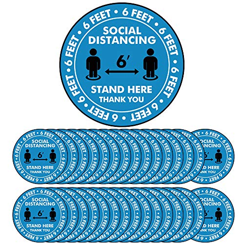 Social Distancing Floor Decal Stickers - 30 Pack Safety Stand Decal, 8