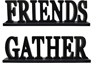 Rustic Wood Friends Gather Sign for Home Decor, Decorative Wooden Cutout Word Decor Freestanding Friends Tabletop Decor, 16