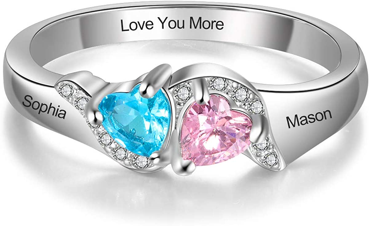 Ashleymade Personalized Promise Las Vegas Boston Mall Mall Rings for Simul 2 Her Heart with