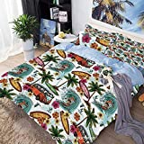 Juego de Funda nórdica de Cama de 3 Piezas, Hawaiian Decor Surfer on Wavy Deep Sea Retro Palms Flowers Surf Boards Print, Incluye 1 Funda de edredón + 2 Funda de Almohada, Juego de Funda n