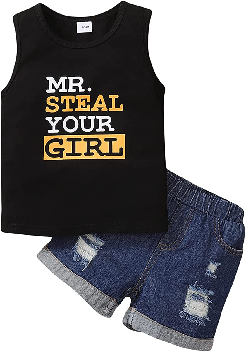 OPAWO Toddler Baby Boy Summer Clothing Sets MR Steal Your Girl Print Sleeveless Tank Tops+Denim Shorts 2Pcs Outfits