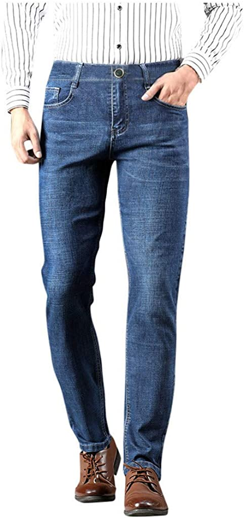 Men's Skinny Denim Pants Straight-Leg Tapered Jeans Pants Summer Casual Buttons Mid Waist Trousers with Pockets - Limsea