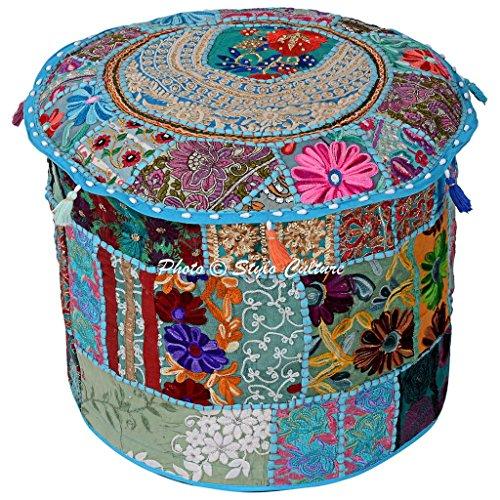 Stylo Culture Baumwoll Patchwork gestickte Hocker Ottoman Abdeckung Türkis Floral Ottoman Möbel