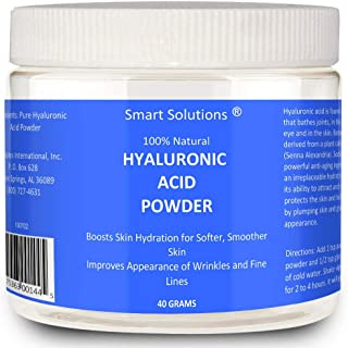 Smart Solutions Pure Hyaluronic Acid Serum Powder, 40 Grams | 100% Natural, Boosts Skin Hydration for Softer, Smoother Skin