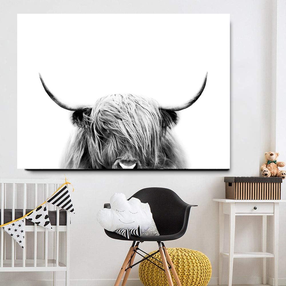 Highland Cow Cattle Wall セール 登場から人気沸騰 Canvas Poste 2020春夏新作 Painting Art Animal Nordic