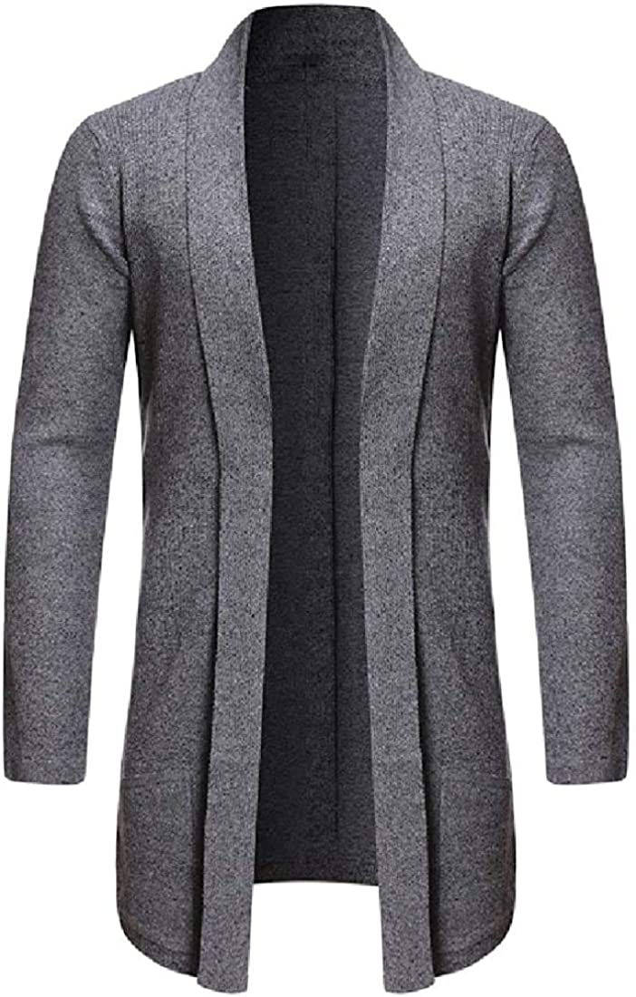 Men Challenge the lowest price of Japan ☆ Knitted Casual Cheap sale Shawl Collar Pure Open Front Cardi Slim Color