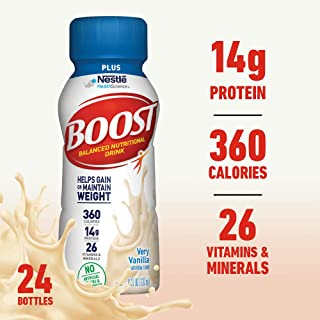Boost Plus Complete Nutritional Drink, Very Vanilla, 8 fl oz Bottle, 24 Pack (Packaging May Vary)