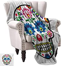 WinfreyDecor Sugar Skull Home Throw Blanket Polish Folkloric Art Style Mexican Sugar Skull Design Ethnic Carnival Theme Bedroom Warm 36