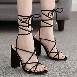 High Heel Sandals, Roman Shoes, Slippers, Wedding Shoes, Evening Dress Shoes, (Color : Black, Size : 40)
