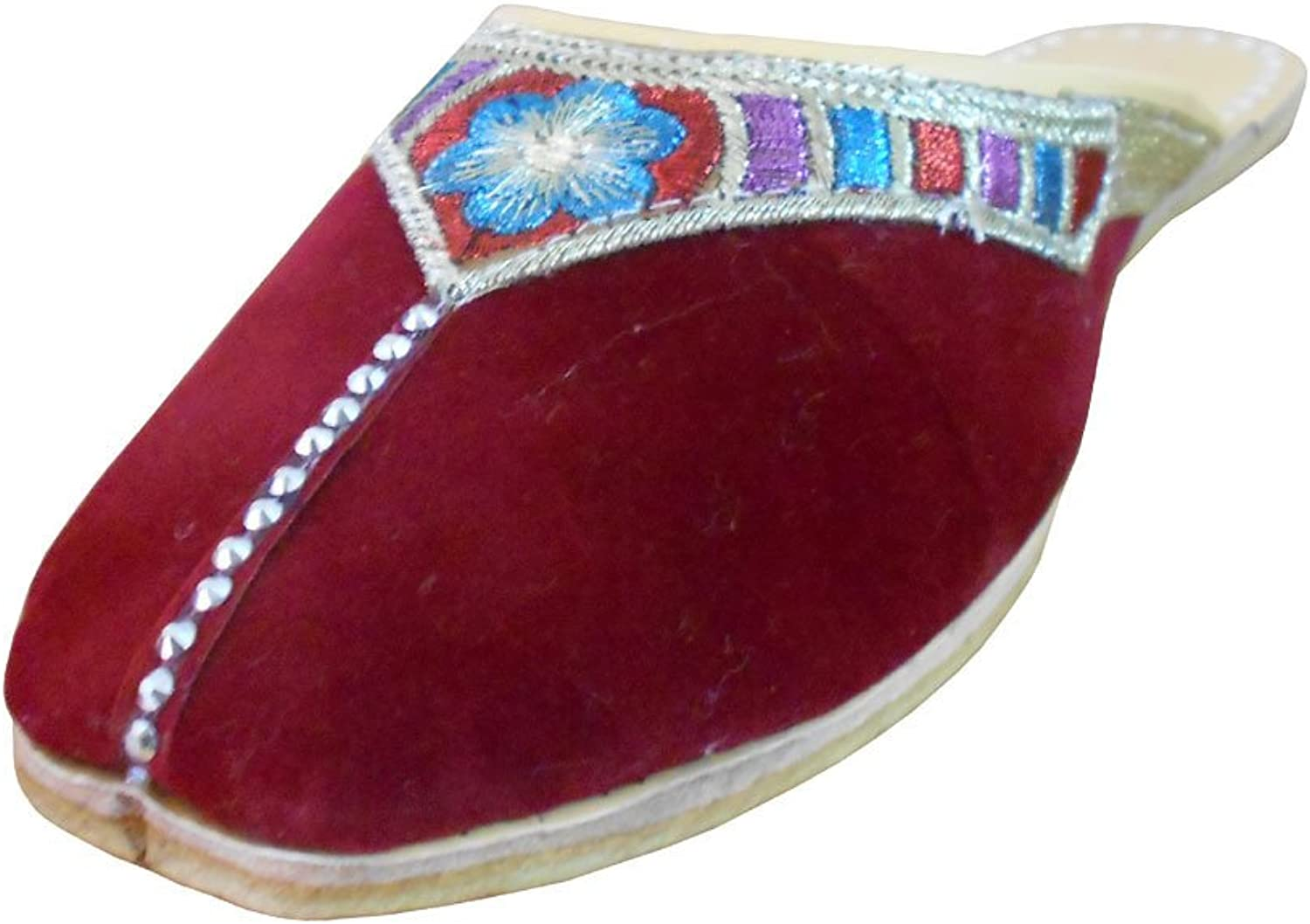 Kalra Creations Women's Traditional Velvet with Embroidery Maroon Leather Ethnic Flats