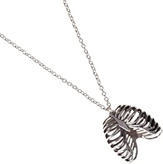 Qlychee Unisex Goth Rib Cage Necklace Unique 3D Skeleton Bone Statement Punk Necklace Gift