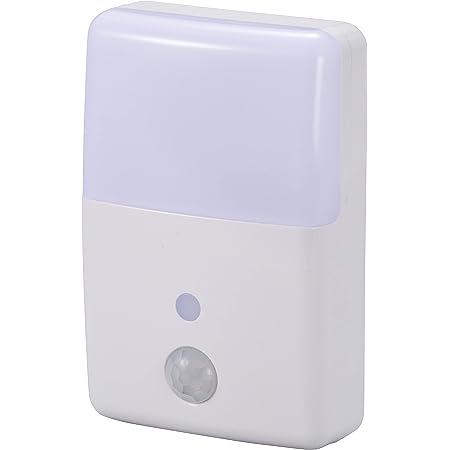 オーム電機 【2色のあかり】LEDナイトライト(明暗+人感センサー付/白色・電球色) NIT-ALA6MJM-WN 本体寸法(約):幅60×高さ90×奥行25mm(プラグ含まず)