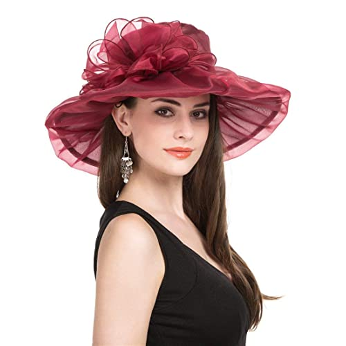 2331e43d0b076 SAFERIN Women s Organza Church Kentucky Derby Fascinator Bridal Tea Party  Wedding Hat (Burgundy Bowknot)