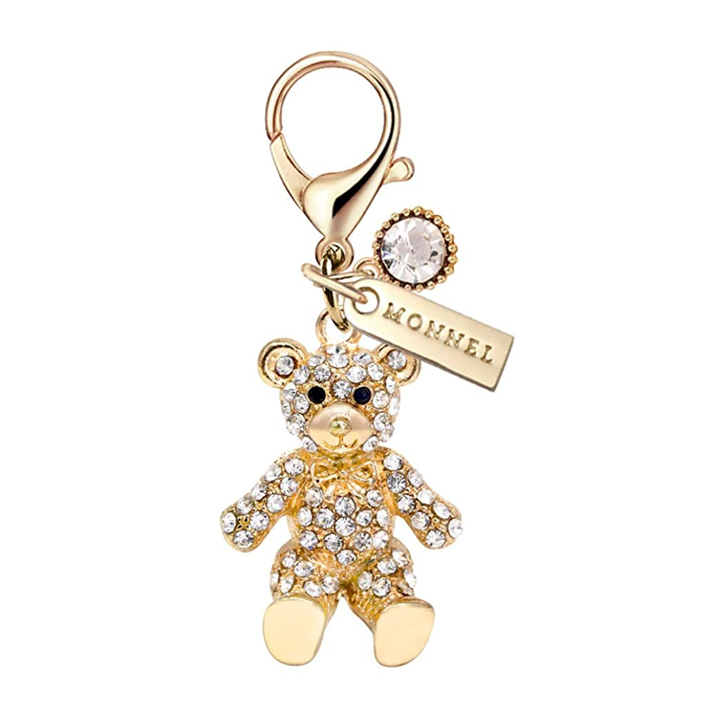 MC83 New Arrival Cute Crystal Golden Teddy Bear Lobster Clasp Charm Pendant with Pouch Bag (1 Piece)
