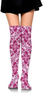 PIRATE SKULL PLAID Calcetines hasta la rodilla sobre el muslo de color rosa intenso Medias altas 65 Cm / 25.6In