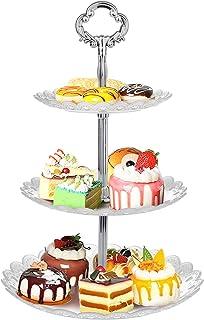 WolinTek Soporte para Tartas de 3 Pisos, Bandeja de Tartas, Plato de Frutos Secos Plaza Apilada Fiesta Cupcake y Torre de Postre para Boda Fiesta Tarde cumpleaños, plástico (B)
