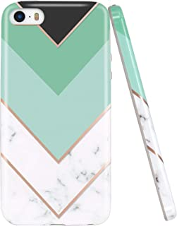 JIAXIUFEN Geometric Mint White Marble Slim Shockproof Flexible Bumper TPU Soft Case Rubber Silicone Cover Phone Case Compatible with iPhone 5 5S SE