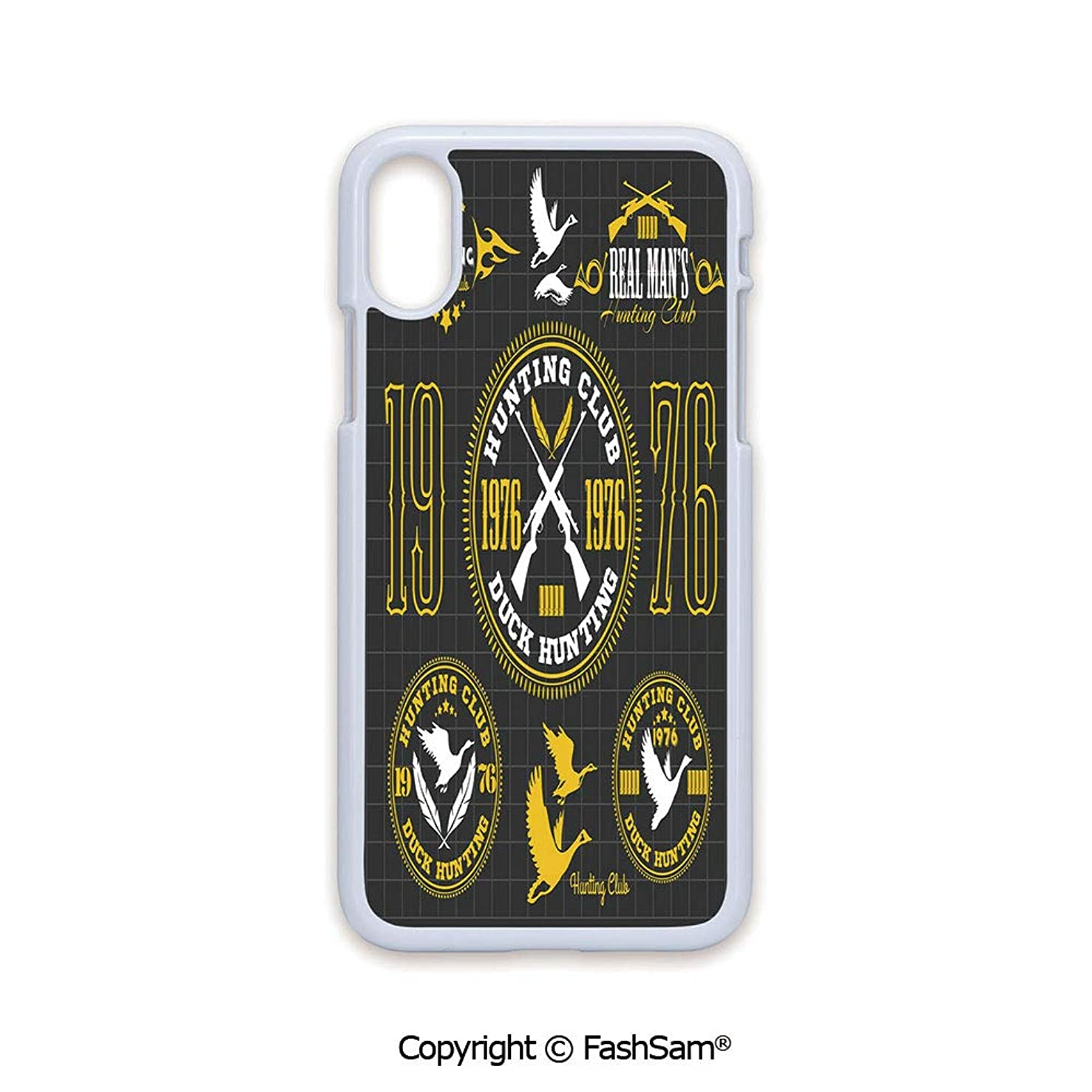 Plastic Rigid Mobile Phone case Compatible with iPhone X Black Edge Vintage Club Emblem from 1976 Hobby of Duck Hunting Themed Labels 2D Print Hard Plastic Phone Case