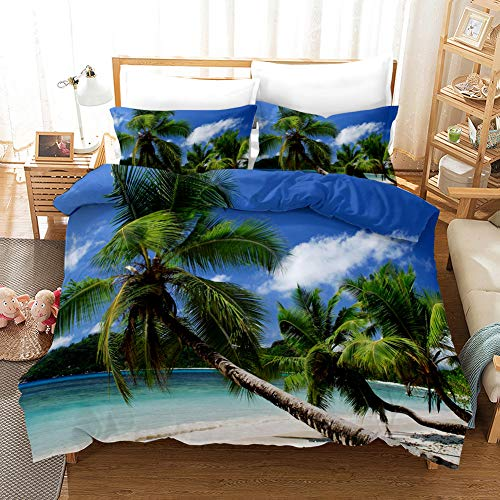 Duvet Cover Bedding Set White blue brown green beach coconut tree Single 53.15 x 78.74 inch Ultra Soft Easy Care With–Hotel Quality Bedding Sets 2 Pillowcase19.68 x 29.53 inch
