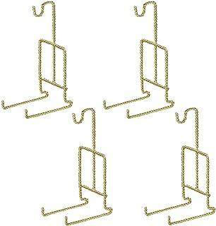 HOHIYA Tea Cup and Saucer Display Stand Holder Rack Teacup Easel Twist(Gold,pack of 4)