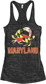 Women's Maryland State Flag Crab Emblem Burnout Racerback Tank Top