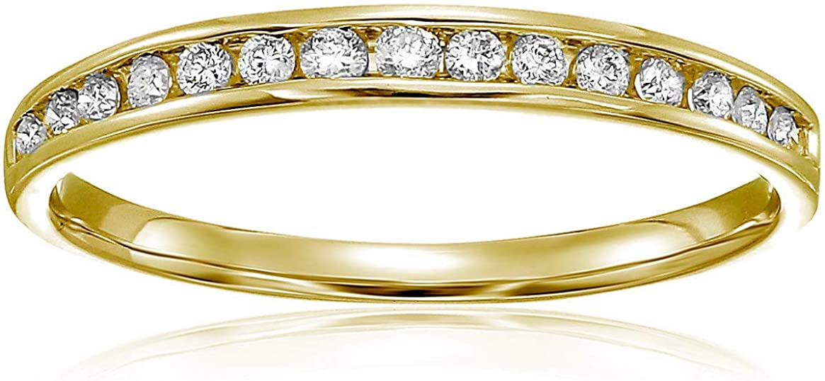 Vir Jewels 1/5 cttw Classic Diamond Wedding Band in 10K Yellow Gold Channel Set