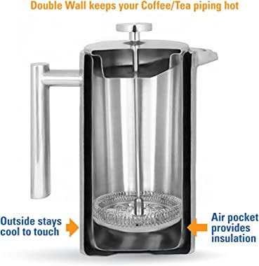 MIRA 34 oz Stainless Steel French Press Coffee Maker with 3 Extra Filters | Double Walled Insulated Coffee & Tea Brewer P