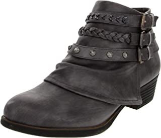 Sugar Women's Truth Fashion Braided Buckle and Studded Strap Low Heel Ankle Boot