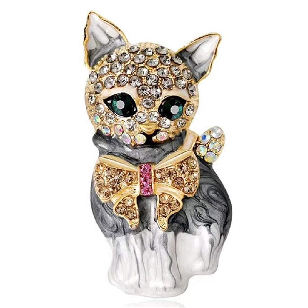 ネックレット四分円フライトUnderleaf 女性のための素敵な猫のブローチピンクリスタルエナメルピン動物ブローチジュエリーアクセサリー