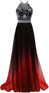 d6df926f29 ZVOCY Gradient Prom Dress Formal Evening Gowns Beaded Ombre Chiffon Long  Prom Party Dresses