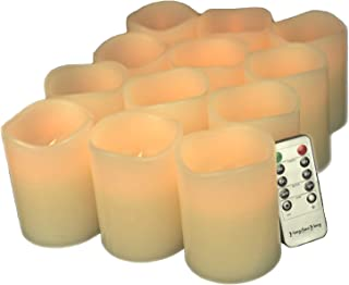 YongHaoYang LED candles Flameless Candles Battery Operated LED Pillar Real Wax Flickering Electric Unscented Candles with Remote Control Cycling 24 Hours Timer, 3