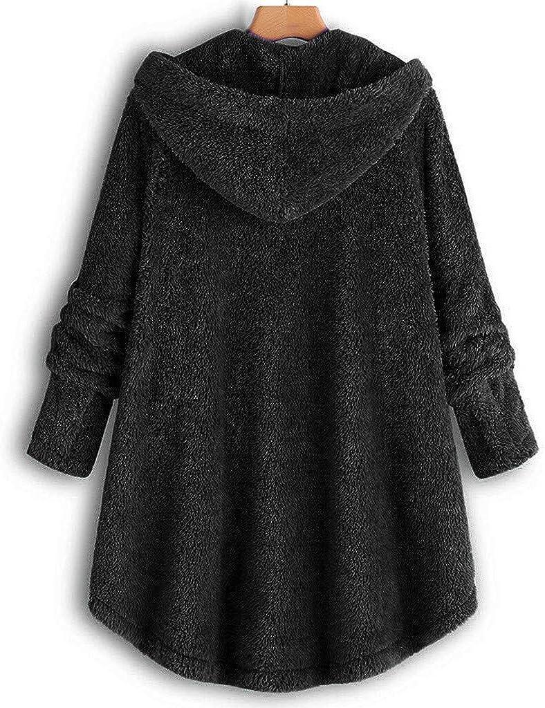 Lulupi Oversized Teddy Hoodie Damen Plüschmantel mit Taschen, Fleece Plüschjacke Herbst Einfarbige Pullover Winter Kapuzenpullover Sweater Outwear Schwarz-03