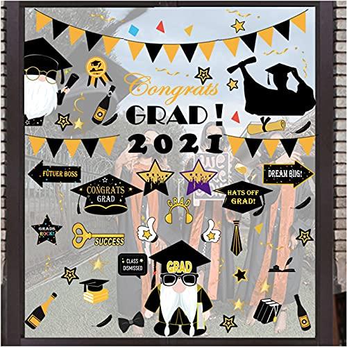 Graduation Window Clings Party Supplies 2021 – Grad Congrats Wall Stickers Car Office School Decorations