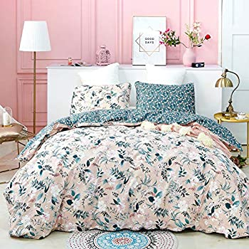 Luxlovery Pink Floral Duvet Cover Set King Women Girls Bohemian Bedding Sets Blush Green Botanical Garden Vintage Cotton 3 Piece Bedding Cover Sets
