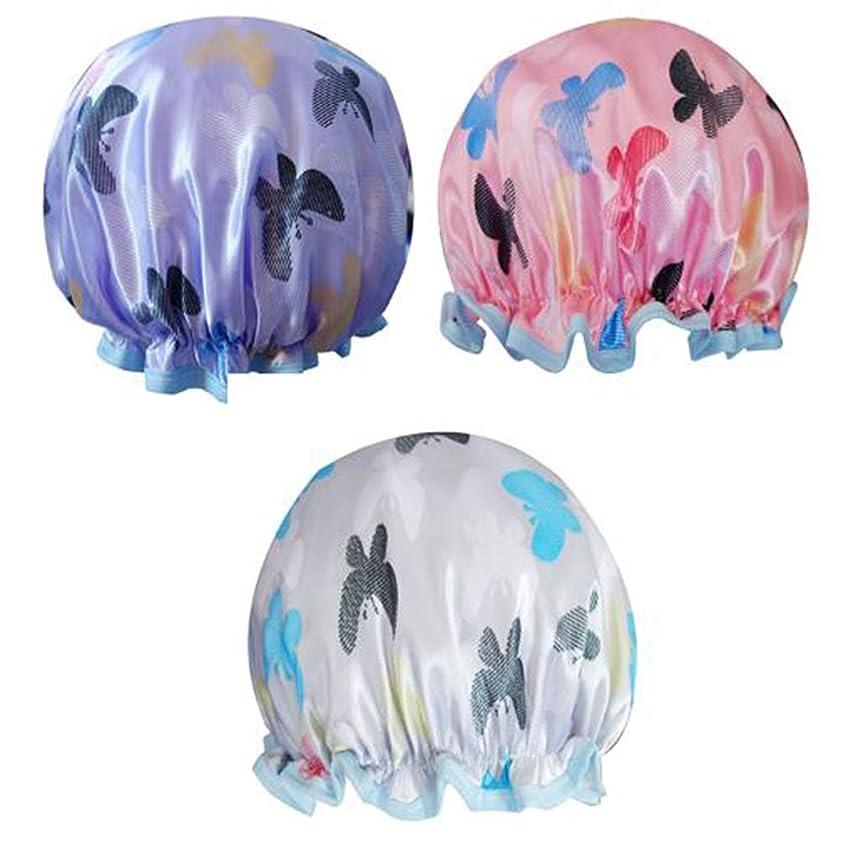 オークく複雑なLurrose Lurrose防水シャワーキャップ蝶弾性入浴キャップ二重層スパ帽子用女の子女性レディ3ピース