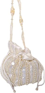 Exotic India Ivory Potli Drawstring Bag with Embroidered Beads and Faux Pearls - Satin - Elfenbein