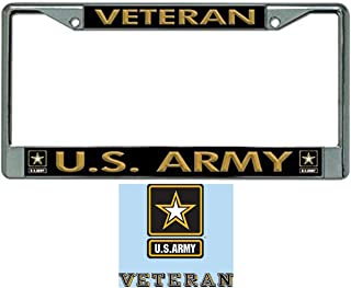 Butler Online Stores US Army Veteran License Plate Frame (Army Star) Bundle with US Army Veteran Decal